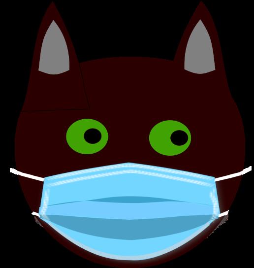 Grafik: schwarzer Katzenkopf mit Gesichtsmaske